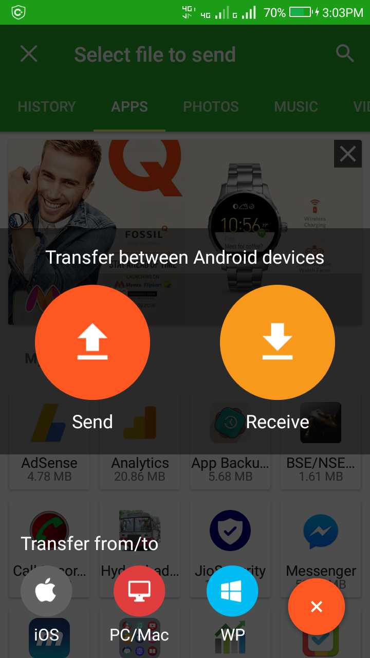 Transfer files android